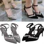 รองเท้าส้นสูง ไซต์ 34-38 สรดำ สีเทา