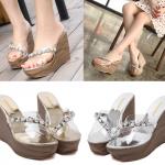รองเท้าส้นเตารีดส้นลายไม้สีเงิน/ทอง ไซต์ 34-39