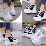 รองเท้าผ้าใบเสริมส้นสีขาว /ดำ ไซต์ 35-39