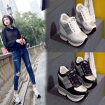 รองเท้าผ้าใบเสริมส้น ไซต์ 34-39 สีขาว/ดำ