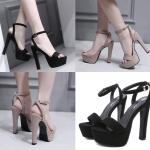รองเท้าส้นสูงเปิดส้นสีดำ/น้ำตาล ไซต์ 34-39