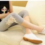 กางเกงเล็คกิ้งคนท้องเอวปรับระดับ L0220สีเทาขาสั้น