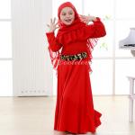 ชุดกระโปรง+ผ้าคลุมศรีษะอิสลาม สีแดง แพ็ค 6 ชุด ไซส์ 1T-2T-3T-4T-5T-6T