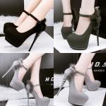 รองเท้าส้นสูง ไซต์ 34-39 สีดำ สีเทา สีเขียวเข้ม