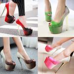 รองเท้าส้นสูงเปิดหน้าสีแดง/ชมพู/เขียว/น้ำตาล ไซต์ 34-43