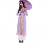 ชุดเวียดนามหญิงชั้นสูง ลายหงส์คู่มังกร (สีม่วงอ่อน)