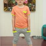 เสื้อ+กางเกง สีส้ม แพ็ค 5ชุด ไซส์ 100-110-120-130-140