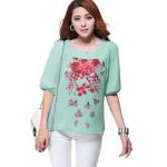 เสื้อสาวอวบผ้าชีฟองสีเขียวแขนห้าส่วนพิมพ์ลายดอกกุหลาบ (4XL)