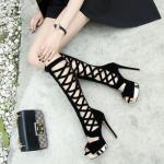 รองเท้าส้นสูงแบบสวมยาวสีดำ ไซต์ 34-39