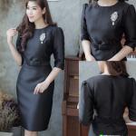 (Size XL ) แฟชั่นชุดสีดำสวยๆ ชุดเดรสสีดำ ชุดแซกสีดำ ชุดทำงานสีดำ ผ้าไหมแขนสามส่วน