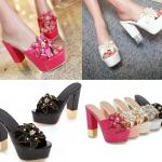 รองเท้าส้นสูงแบบสวมส้นหนาแต่งดอกไม้หรูๆสีดำ/ชมพูอ่อน/ชมพูเข้ม/ขาว/เงิน ไซต์ 34-43