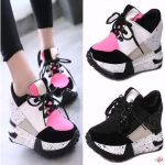 รองเท้าผ้าใบเสริมส้นสีชมพู /ดำ ไซต์ 35-39