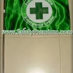 ธงนำทางอพยพหนีไฟแบบวงกลมผ้าต่วน_สีเขียวเข้ม