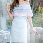 (Size M,L) ชุดไปงานแต่งงาน ชุดไปงานแต่งสีฟ้า เดรสออกงาน Dressเปิดไหล่ แต่ง ด้วยฟรุ้งฟริ้งมุ้งงมิ้ง น่ารักมากๆๆคะ