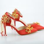 รองเท้าเจ้าสาวสีแดงปลายแหลม ไซต์ 34-38