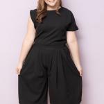 SET 2 ชิ้น เสื้อผ้าไซส์ใหญ่ผ้าคอตตอนเนื้อผสมสีดำ + กางเกงขาสี่ส่วนสีดำ (2XL,3XL,4XL,5XL)