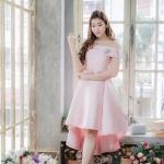 (Size M,L)ชุดไปงานแต่งงาน ชุดไปงานแต่ง สีชมพู เปิดไหล่ ด้านในเย็บซับในติดกับตัวเดรส งานละเอียดปราณีตสุดๆคะ รุ่นนี้ ปลายกระโปรงเป็นระบายหน้าสั้นหลังยาว คัตติ้งเริ่ดมากกก