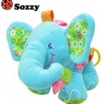 ตุ๊กตาโมบายช้างน้อย สีฟ้า มีดนตรี
