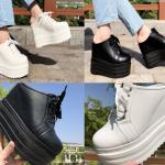รองเท้าส้นเตารีดแบบผ้าใบสีขาว/ดำ ไซต์ 34-38