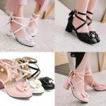 รองเท้าส้นสูงน่ารักๆสีชมพู/ขาว/ดำ ไซต์ 34-43