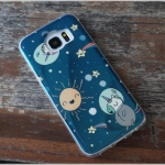 Samsung Galaxy S7 Edge - เคส TPU เงาวับ ลายการ์ตูน ม้ายูนิคอนท่องอวกาศ