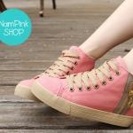 รองเท้าผ้าใบผู้หญิงหุ้มข้อแต่งซิปข้าง เสริมด้านในรวม 4.5 ซม. ขนาด 35-39 (พร้อมส่ง)