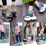 รองเท้าผ้าใบเสริมส้นสีเงิน/เขียว ไซต์ 35-39
