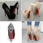 รองเท้าส้นสูง ไซต์ 34-39 สีดำ/ครีม