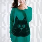 เสื้อยืดเกาหลี ตัวยาว ลายแมว สีเขียว