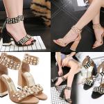 รองเท้าส้นสูงส้นหนาติดหมุดติดมุขสีน้ำตาล/ดำ ไซต์ 34-40