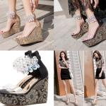 รองเท้าส้นเตารีดส้นปักผ้าสวยๆสรทอง/ดำ ไซต์ 34-39