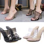 รองเท้าส้นสูงแบบสวมงานสายรัดพลาสติกสีดำ/ใส ไซต์ 35-40