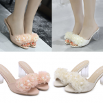 รองเท้าส้นสูงแบบสวมแต่งดอกไม้ผ้าสวยหวานสีชมพู/ขาว ไซต์ 35-39