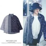 เสื้อเชิ้ต THREEFOLD Check SHIRT (BLACK) Sty.SUGA -ระบุไซต์-