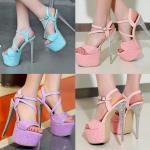 รองเท้าส้นสูง ไซต์ 34-39 สีฟ้า สีม่วง สีชมพู