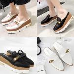 รองเท้าส้นเตารีดปลายแหลมสีขาว/ดำ ไซต์ 34-39