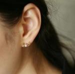 ต่างหู love สีทอง ประดับมุก พร้อมส่ง