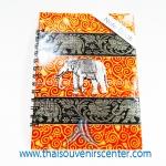 สมุดโน้ตปกผ้าลายไทย แบบ 6 สีส้ม