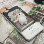 iPhone 7 - เคส TPU หลังนุ่มนิ่ม 3D ลายแมวขาว กองหนังสือ