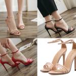 รองเท้าส้นสูงรัดข้อสายคาดหน้า 3 เส้น สีแดง/ดำ/ครีม ไซต์ 35-40