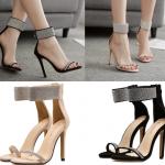 รองเท้าส้นสูงรัดข้อติดคริสตัลสีนู๊ด/ดำ ไซต์ 35-40