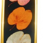 16. กรอบรูปใบไม้มงคลสีทอง 3 ใบ 3 สี : นาก เงิน ทอง (กรอบแบบยาว)