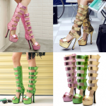 รองเท้าส้นสูงยาวเก๋ๆสีเขียว/ชมพู/ทอง ไซต์ 34-39