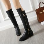 รองเท้าบูทยาวส้นเตี้ยสีดำ ไซต์ 34-43