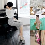 รองเท้าส้นสูง ไซต์ 34-39 สีชมพู,ทอง,เงิน