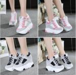 รองเท้าผ้าใบเสริมส้นสีชมพู /เทา ไซต์ 34-39