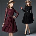 59020118 / S M L XL / 2016 Lace dress พรีออเดอร์ งานคัตติ้งยุโรป คุณภาพดีสมราคา สวยคอนเฟริ์ม