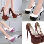 รองเท้าส้นสูงคัดชูส้นเข็มสีน้ำตาล/ขาว-ดำ/ขาว-ม่วง ไซต์ 34-40