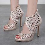 รองเท้าส้นสูงติดคริสตัลเล็กๆสวยหรู ไซต์ 35-40