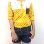เสื้อยืดแขนยาวสีเหลือง ลายเป็ด-พร้อมส่ง